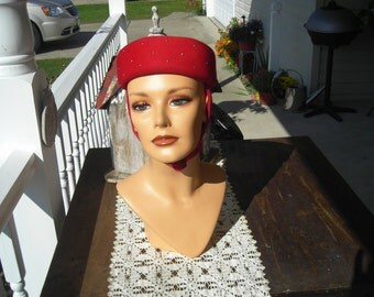 50's red pillbox hat with attched scarf,  100% wool,Made in New York, Adjustable at neck
