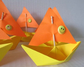 summer sun beach pool party vacation holiday yellow smiley paper boat 10 sail boats