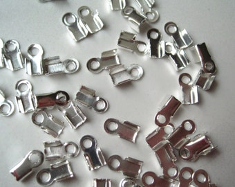 Cord Tips, 10 g, Approx 300 Silver Color Crimp Clasp, Fold Over Cord Tips, Cording Connector, End Clasp, Crimp End Clasps, Ribbon Crimp Ends