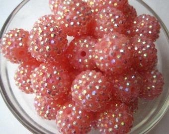 Pink Disco Ball Beads, Rhinestone Bead, 10 pcs, 20mm Bumpy Chunky Necklace Bead, Disco Ball Bead, Gumball Beads, Bubblegum Bead