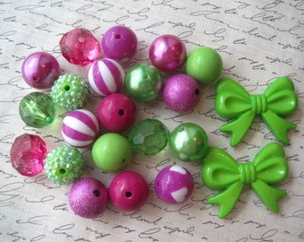 Purple and Green Bubblegum Bead Necklace Kit, Gumball Bead Kit, Necklace Kit, DIY Necklaces, Fun Kids Project