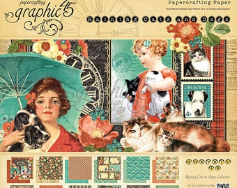 "Graphic 45  ""Raining Cats and Dogs""  12 x 12 Paper Cardstock Collection"