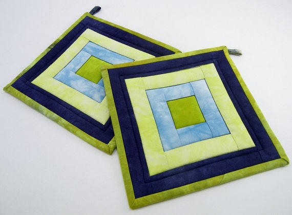 Quilted Hot Pads - Navy, Sky Blue, and Chartreuse and Olive Green Hand Dyed Fabric Modern Pot Holders