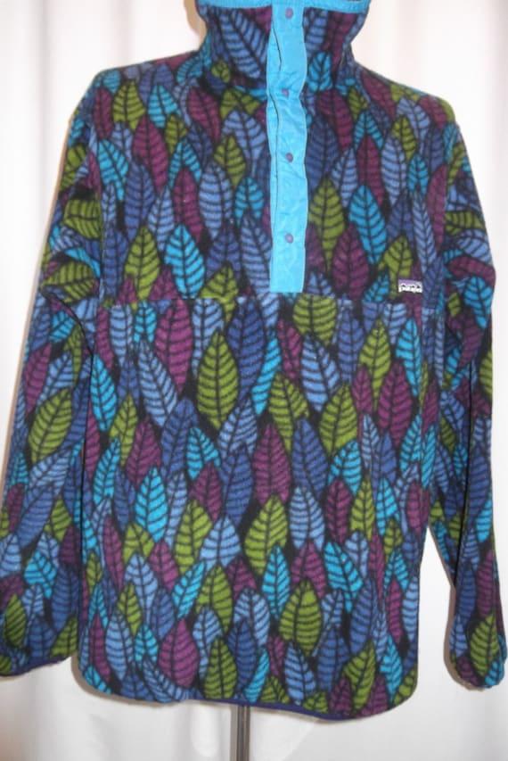 Vintage Patagonia T Snap Pullover Leaf Fleece In Blue Purple