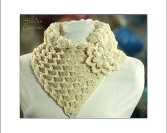 PATTERN - Crochet - 3D Chunky Neck Warmer with a 3D Flower