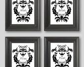 Black-white Damask design- set of FOUR 8x10 art prints, Wash Brush Floss Flush