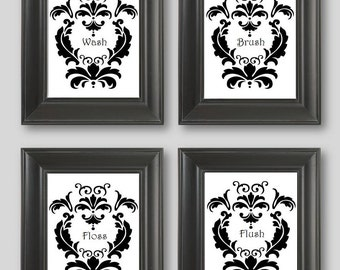 LIMITED Time CLEARANCE SALE On This One  Black And White Damask Design  Set  Of