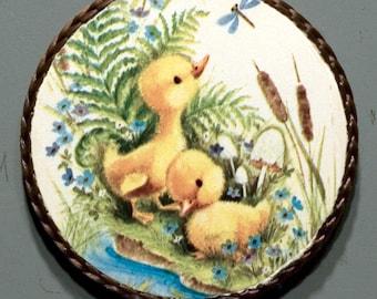 Baby ducks handmade vintage magnet,1980's