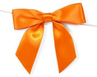 "Orange 3"" Pre-Tied Satin Bows with 5"" Twist Ties~ 7/8"" ribbon- Pack of 6"