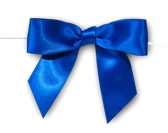 """Royal Blue 3"""" Pre-Tied Satin Bows with 5"""" Twist Ties~ 7/8"""" ribbon- Pack of 6"""