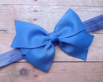 Carolina blue bow headband - blue headband, baby headband, newborn headband, baby bow headband, baby girl headband, blue headband
