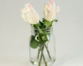 Real Touch Cream Tipped Light Pink Bud Rose Arrangement Mason Jar using Faux Artificial Flowers for Home Decor