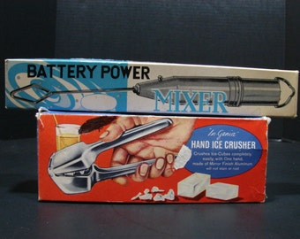 Vintage Bar Ware Hand Ice Crusher made by In-Genia and a Battery Power Mixer 1964 Kitchenware