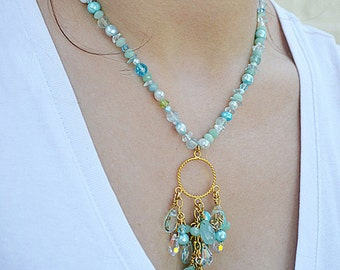 Gemstone tassel necklace Aquamarine amazonite multi stone necklace Waterfall necklace Gemstone cascade necklace Summer resort casual jewelry