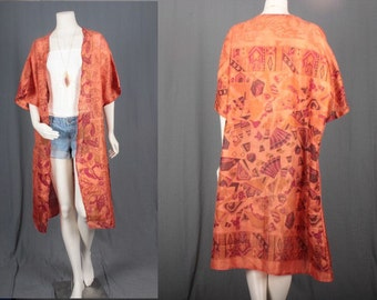 Handmade Kimono Jacket Duster Coat Orange from Vintage Saree Boho Hippie women size OSFA