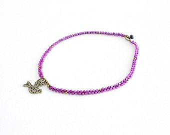 Necklace Imitation Purple Stones Brass Bird Pendant Handmade in Thailand (N4093-C9D11)