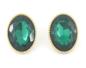 Gorgeous Pretty Gold-tone Oval Emerald Faceted Stone Post Stud EARRINGS,C4