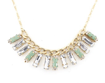 Gold Tone White Crystal Beads Short Chain Statement Necklace,P2