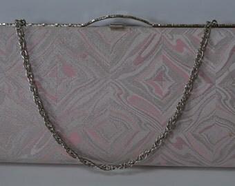 Pink and silver bridal handbag or clutch purse, silk brocade, vintage 1980s Japanese wedding purse