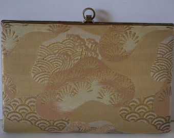 Bridal clutch purse, gold silk brocade handbag, vintage Japanese purse