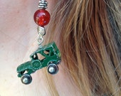 Green Truck Earrings - With real retro vintage truck