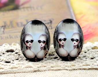 8pcs (10x14mm\13x18mm) 4pcs (18x25mm) 2pcs (20x30mm\30x40mm) Handmade Photo Glass Cabs Cabochons---Lovely Cartoon