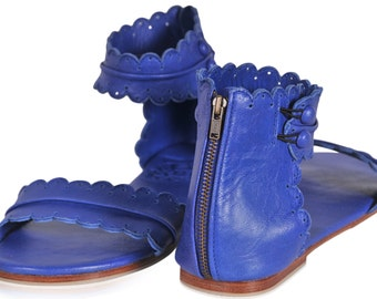 MIDSUMMER. Leather sandals  / women shoes /  leather shoes / flat shoes / blue leather. sizes 35-43. Available in different leather colors.