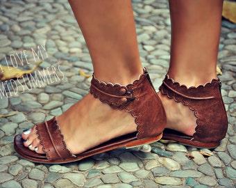 SALE. Sz. 5.5 & 8. MIDSUMMER. Brown leather sandals / women shoes / leather shoes / flat shoes / boho shoes.