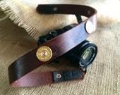 Camera Strap Shotgun Shell full grain real leather handmade strap photographer photo 12 gauge gun