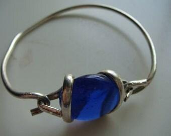 Vintage Silver tone Blue Jeweled Bracelet