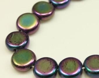 Bead, Czech pressed glass, iris purple, 6.5mm flat round. Qty 12, Czech Glass Bead