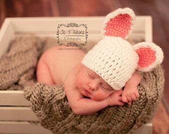 Newborn Bunny Hat, Newborn Hat, Crochet Hat, Photo Prop, Easter Hat, Bunny, Baby Hat