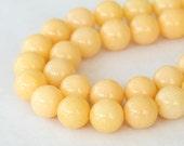 Mountain Jade Beads, Cream, 8mm Round - 15 Inch Strand - eMJR-A04-8