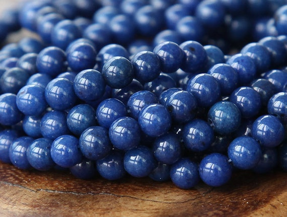 Mountain Jade Beads, Navy Blue, 6mm Round - 15.5 Inch Strand - eMJR-B09-6