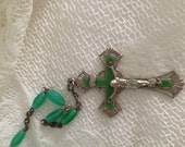 Vintage jade light rosary vintage green rosary beads