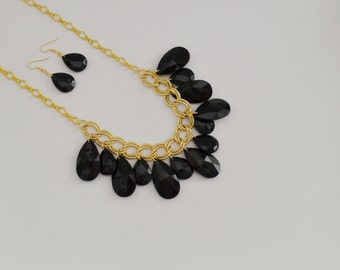 black teardrop with gold chain statement necklace set
