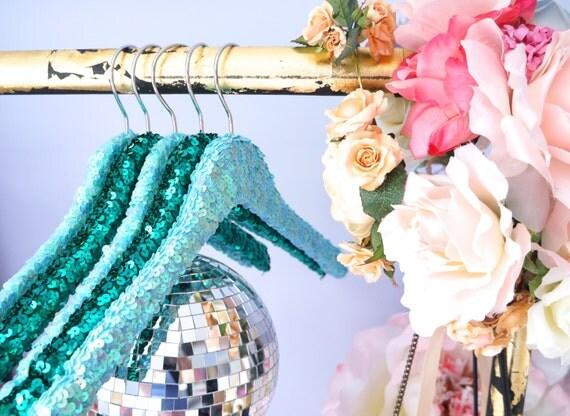 SUMMER BLOWOUT SALE Emerald & Light Blue Sequin Hangers