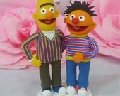 Wedding cake topper Bert and Ernie clay doll, grooms touch other's butt clay miniature, engagement clay figurine, ring holder clay couple
