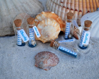 Beach Bridesmaids Invitations,Message in a bottle, Sea Shell, Blue, Ocean, Bridesmaid invite