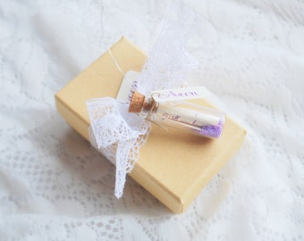 Rustic Bridesmaid Invitations Purple, Message in a bottle, Lace, Maid of Honor Invitation, Matron of Honor, Flower Girl Invite