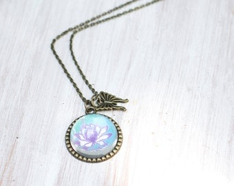 Vintage Purple Flower Pendant, Flowers Necklace, Romatic Necklace, Gift for her