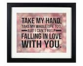 Can't Help Falling in Love by Elvis Presley | Song Lyric Digital Printable: INSTANT DOWNLOAD