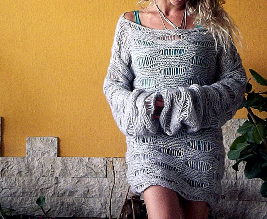 Gray Loose Knit Slouchy Sweater Hand Knit Sweater Women Knit