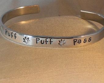 Puff Puff Pass-  Metal Stamp Bracelet (Pcl2.5U)