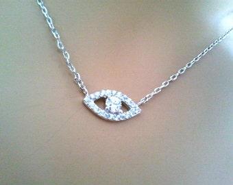 Evil Eye Necklace, Cubic necklace, charm, pendant, Good Luck Charm Necklace, Cubic necklace, Christmas necklace