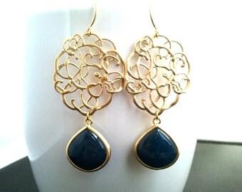 midnight blue jade synthetic stone Earrings, Drop, Dangle, Earrings,bridesmaid gifts,Wedding jewelry- Matte Gold (16K) Finish