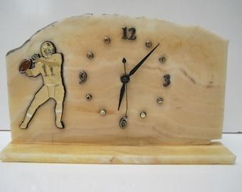 Vintage Honey Onyx Gemstone Clock American Football Theme E326Bz