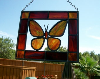 Stained glass Butterfly suncatcher . Specify colours when ordering.