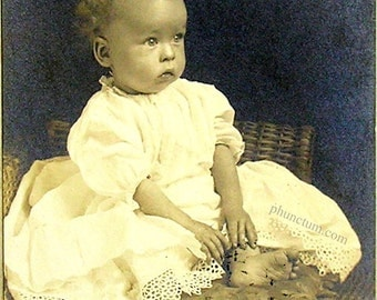 Bare Feet Vintage Photo White Eyelet Lace Dress Baby Toes Curly Hair Antique Photograph
