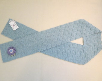 Light Blue Scarf with Flower Pin